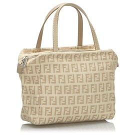 Fendi-Fendi Gray Zucchino Canvas Handbag-Grey