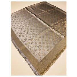 Louis Vuitton-Louis Vuitton monogram shine greige châle-Gris