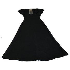 Yohji Yamamoto-Yohji Yamamoto  Button Embellished Wool Floor Length Dress-Black