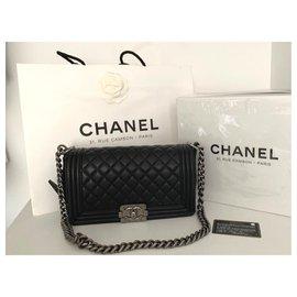 Chanel-Chanel black medium boy bag-Black