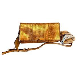 Burberry-Small Metallic Python Clutch Bag-Golden