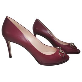 Gucci-Peep Toes Peep Toe Pumps-Golden,Dark red