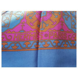 Hermès-Foulards de soie-Bleu,Violet