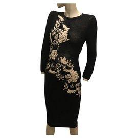 Ermanno Scervino-Black and white sweater dress-Black,White