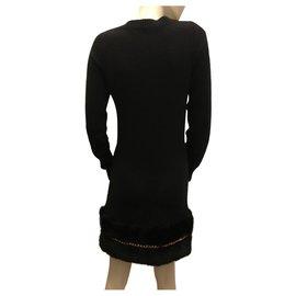 Elisabetta Franchi-Robe Pull noir-Noir