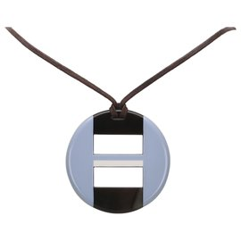 Hermès-Hermes Blue Buffalo Horn Necklace-Blue