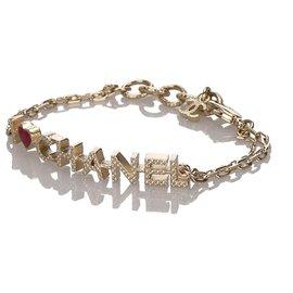Chanel-Bracelet à breloques en argent Chanel avec logo-Argenté