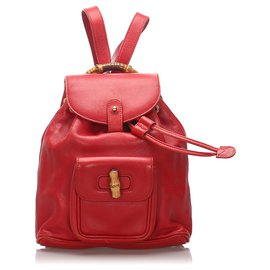 Gucci-Gucci Red Bamboo Leather Drawstring Backpack-Red