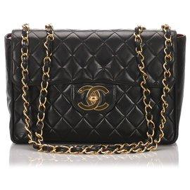 Chanel-Chanel Black Classic Jumbo Lambskin Single Flap Bag-Noir