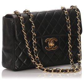 Chanel-Chanel Black Classic Jumbo Lambskin Single Flap Bag-Black