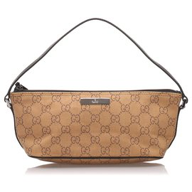 Gucci-Gucci Brown GG Canvas Boat-Marron,Beige