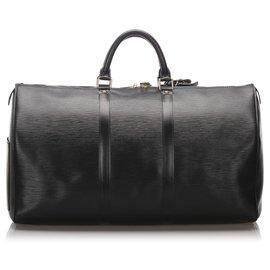 Louis Vuitton-Louis Vuitton Black Epi Keepall 55-Noir