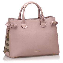 Burberry-Burberry Pink Medium Leather Banner Tote-Pink