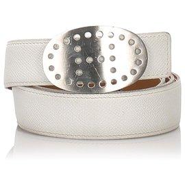 Hermès-Hermes White Evelyne Leather Belt-White