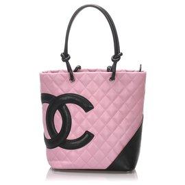 Chanel-Cabas Chanel Rose Cambon Ligne-Noir,Rose
