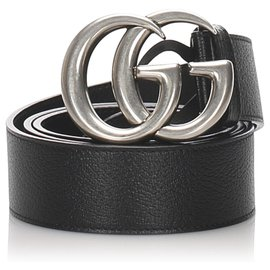 Gucci-Gucci Black GG Marmont Leather Belt-Black