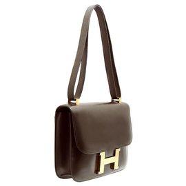 Hermès-Constance 23 Cuir box-Marron foncé