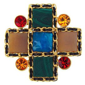 Chanel-malachite and Gripoix crystals brooch-Multiple colors