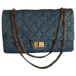 Chanel-Géant 2.55 Sac à rabat Dbl Denim-Bleu
