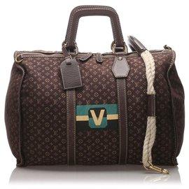 Louis Vuitton-Louis Vuitton Marron Monogram Mini Lin Initiales Keepall 45-Marron,Multicolore