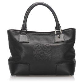 Loewe-Loewe Black Leather Tote Bag-Black