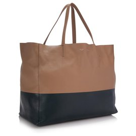 Céline-Celine Brown Leather Horizontal Cabas Tote-Brown,Beige