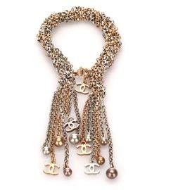 Chanel-Bracelet à breloques chaîne en métal doré Chanel-Argenté,Doré