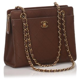 Chanel-Chanel Brown Leather Chain Shoulder Bag-Brown