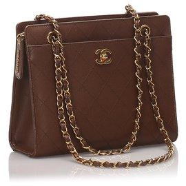 Chanel-Sac à bandoulière chaîne en cuir marron Chanel-Marron
