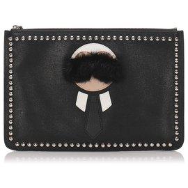 Fendi-Fendi Black Leather Karlito Clutch Bag-Black,Silvery