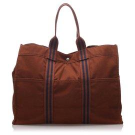 Hermès-Hermes Brown cabas GM-Marron,Bleu