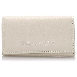 Burberry-Burberry White Leather Key Holder-White