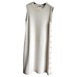 Chanel-cashmere dress with pearls-Cream