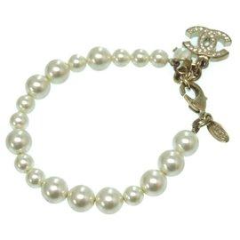 Chanel-Chanel cocomark bracelet rhinestone-Golden