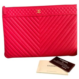 Chanel-O-case Etui Chevron Caviar Large-Pink