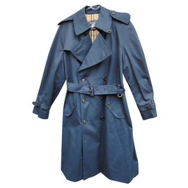 Burberry-men's Burberry vintage t trench coat 46-Navy blue
