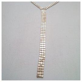 Vintage-Metal mesh necklace-Silvery