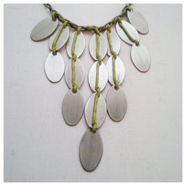 Vintage-Artisanal gunmetal and rope necklace-Silvery