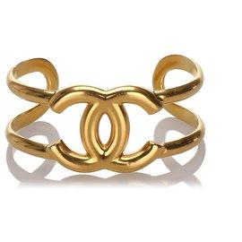 Chanel-Bracelet jonc CC doré doré-Doré