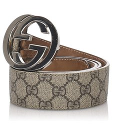 Gucci-Gucci Brown GG Supreme Coated Canvas Belt-Brown