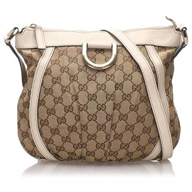 Gucci-Gucci Brown GG Canvas Sac à bandoulière D-Ring-Marron,Blanc,Beige