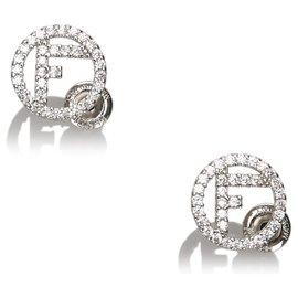 Fendi-Fendi Silver F is for Fendi CZ Earrings-Silvery