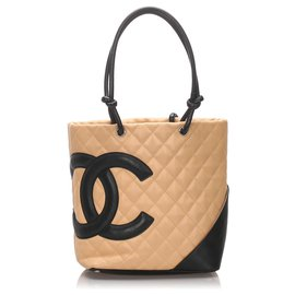 Chanel-Chanel Marron Cambon Ligne Tote-Marron,Noir,Beige