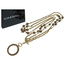 Chanel-Chanel Coco Mark Vintage Loupe 2 Necklace-Golden