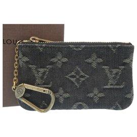 Louis Vuitton-Porte-monnaie en denim Louis Vuitton-Gris