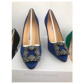Manolo Blahnik-Pompes Manolo Blahnik Hangisi NOUVEAU. blu-Bleu