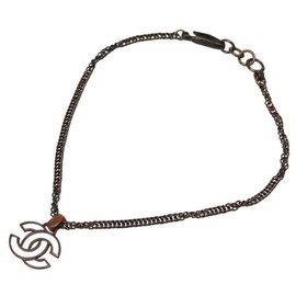 Chanel-Chanel vintage CC Mark Necklace-Brown