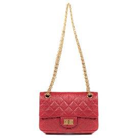 Chanel-Sac Mini Chanel 2.55 Reissue en cuir matelassé rouge, bijouterie dorée, état exceptionnel !-Rouge