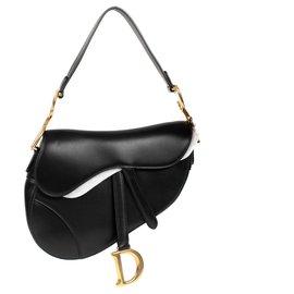 Christian Dior-Bolsa Christian Dior Saddle em couro preto, Joias Douradas, Nova Condição-Preto