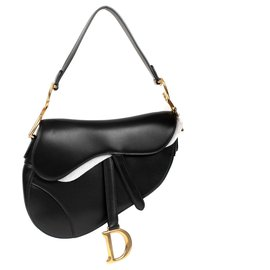 Christian Dior-Christian Dior Saddle bag in black box leather, Golden Jewelery, new condition-Black
